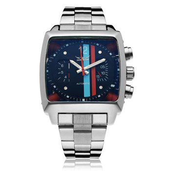 Jaragar Men Automatic Mechanical Watch with Working Sub-dials Stainless Steel Strap - SILVER SILVER