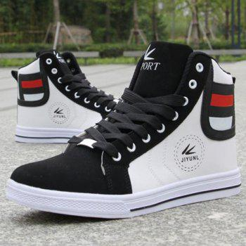 Color Block Leather High Top Sneakers - WHITE WHITE