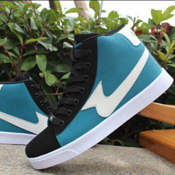 Stylish Color Block and High-Top Design Casual Shoes For Men - BLUE 43