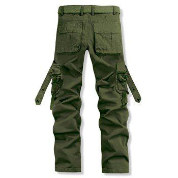 Stylish Loose Fit Solid Color Multi-Pocket Straight Leg Cotton Blend Cargo Pants For Men - ARMY GREEN 30