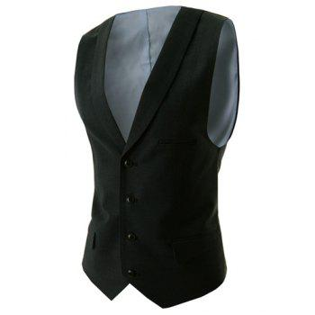Slimming V-Neck Modish Solid Color Single Breasted Sleeveless Cotton Blend Men's Waistcoat - BLACK BLACK