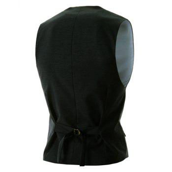 Slimming V-Neck Modish Solid Color Single Breasted Sleeveless Cotton Blend Men's Waistcoat - BLACK XL