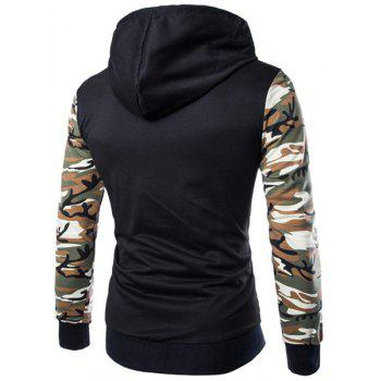Classic Camo Spliced Rib Hem Color Block Slimming Hooded Long Sleeves Men's Fashion Hoodie - GREEN 2XL