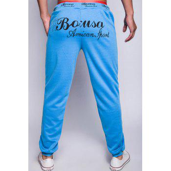 Fashion Lace-Up Loose Fit Letter Print Rib Splicing Beam Feet Polyester Jogger Pants For Men - LAKE BLUE 2XL