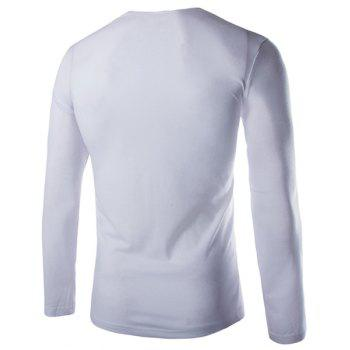 Slimming Cowl Neck Fashion Solid Color Button Design Long Sleeve Polyester Men's T-Shirt - WHITE L