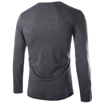Slimming Cowl Neck Fashion Solid Color Button Design Long Sleeve Polyester Men's T-Shirt - DEEP GRAY 2XL