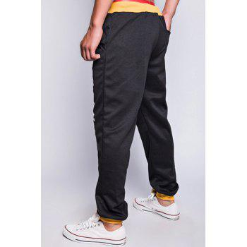 Modish Drawstring Loose Fit Letters Print Color Block Rib Splicing Beam Feet Polyester Jogger Pants For Men - YELLOW/BLACK L