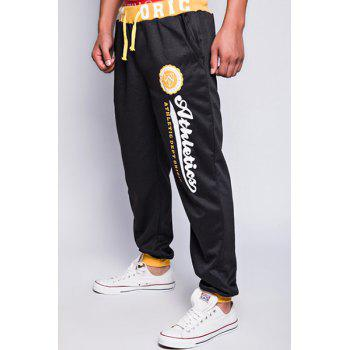Modish Drawstring Loose Fit Letters Print Color Block Rib Splicing Beam Feet Polyester Jogger Pants For Men - YELLOW/BLACK 2XL