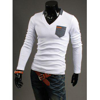 Slimming V-Neck Modish Contrast Color Pocket Labeling Long Sleeve Polyester Men's T-Shirt - WHITE 2XL