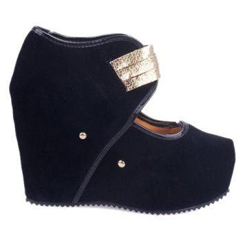 Sexy Metal and Buckle Design Wedge Shoes For Women - BLACK BLACK