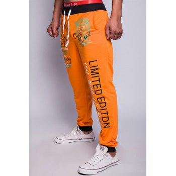 Stylish Drawstring Loose Fit Letters Print Color Block Rib Splicing Beam Feet Polyester Sweatpants For Men - ORANGE M