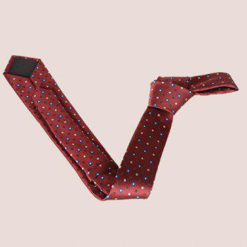 Stylish Lattice and Vertical Striped Pattern Men's Tie -  WINE RED