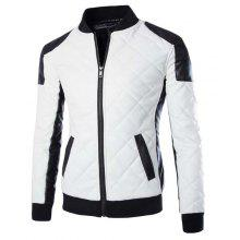 Slimming Stand Collar Trendy Color Block Rib Splicing Long Sleeve Men's PU Leather Jacket