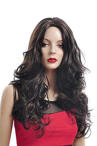 Trendy Shaggy Wave Centre Parting Long Heat Resistant Synthetic Capless Wig For Women - BROWN