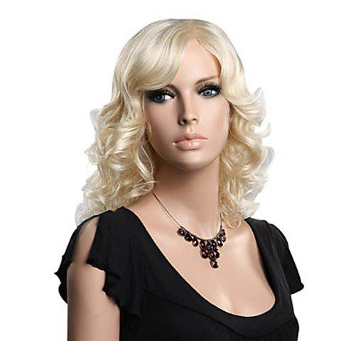 Vogue Wavy Blonde Towheaded Long Heat Resistant Synthetic Capless Women's Wig With Side Bang - GOLDEN