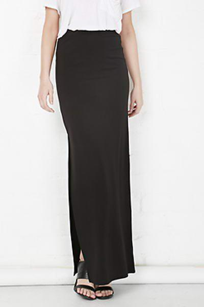 Plus Zellie Maxi Skirt With Slit - BLACK M