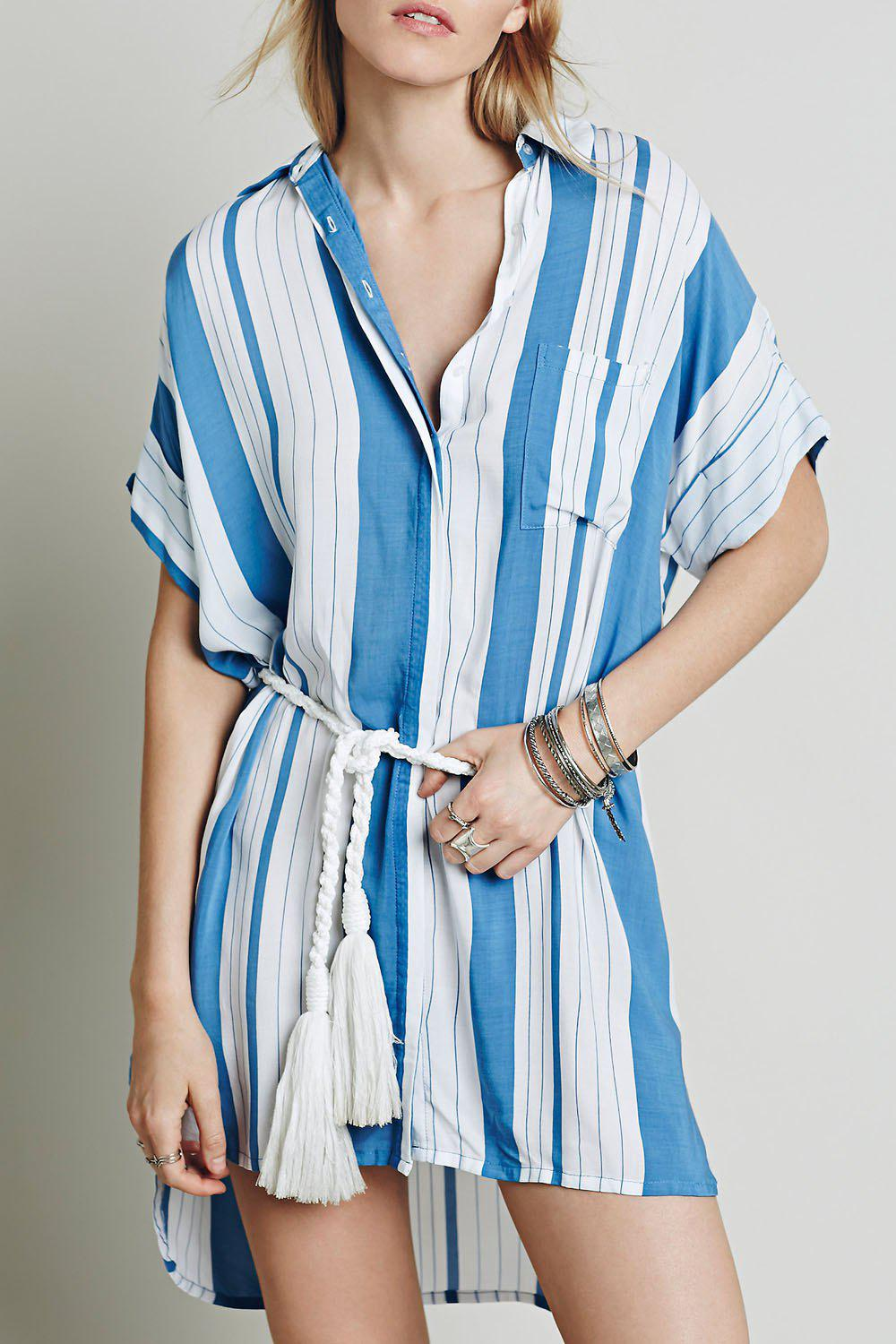 Stylish White Blue Batwing Sleeve Striped High Low Women's Dress - BLUE/WHITE L