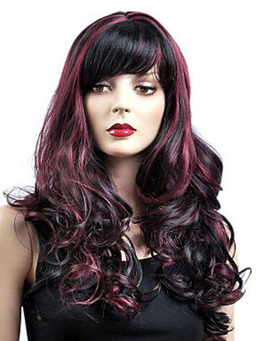 Shaggy Inclined Bang Wine Red Highlight Capless Trendy Long Wavy Synthetic Wig For Women