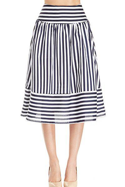 Stripe Panel Skirt - WHITE/BLACK XL