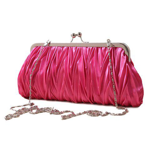 Stylish Satin and Solid Color Design Evening Bag For Women - ROSE