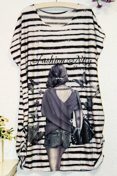 Casual Scoop Neck Beauty Print Striped Short Sleeve T-Shirt For Women