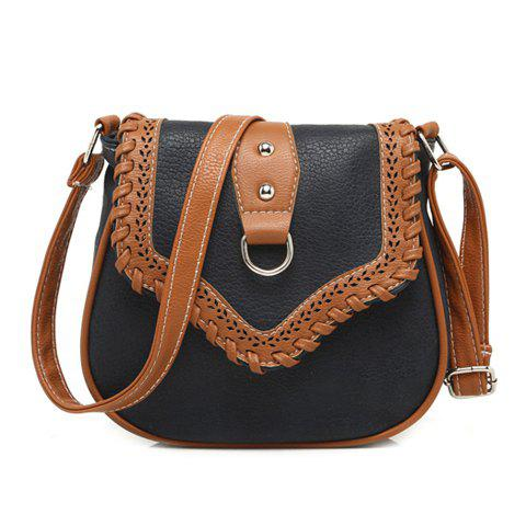 Hollow Out Whip Stitch Crossbody Bag - BLACK