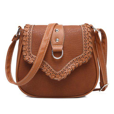 Hollow Out Whip Stitch Crossbody Bag - MAROON