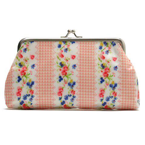 Sweet Floral Print and Kiss Lock Design Women's Clutch Wallet - PINK