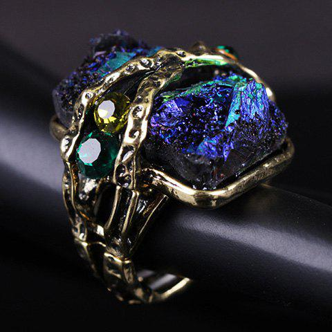Faux Gemstone Elastic Ring - GREEN ONE-SIZE
