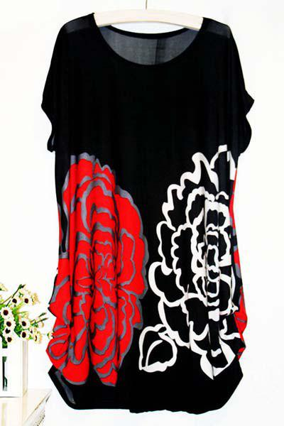 Casual Women's Scoop Neck Short Sleeve Floral Print Blouse - RED ONE SIZE(FIT SIZE XS TO M)
