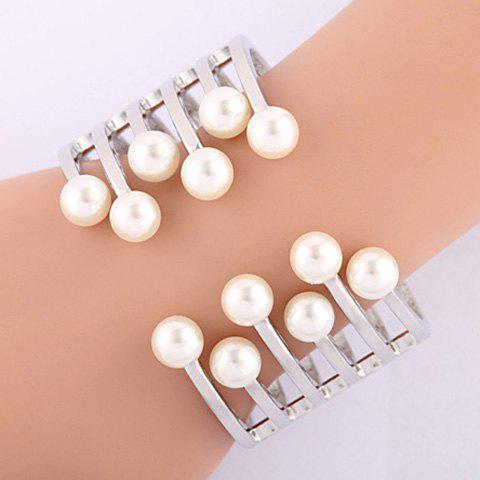 Exquisite Faux Pearl Hollow Out Cuff Bracelet For Women