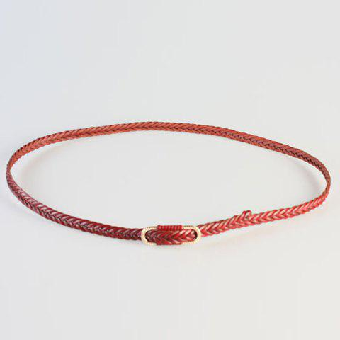Chic Simple Fishtail Shape Women's Slender Weaving Belt - WINE RED