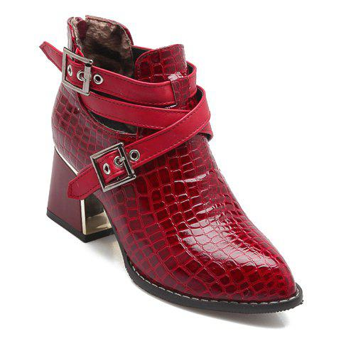 Stylish Buckles and Crocodile Print Design Short Boots For Women - RED 39
