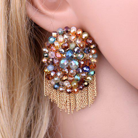 Faux Crystal Beads Chain Tassel Earrings - COLORMIX