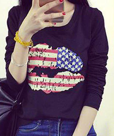 Casual Style Long Sleeve Round Neck American Flag Print Women's T-Shirt - BLACK L