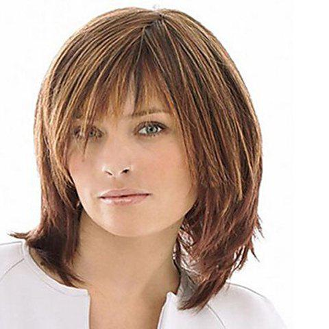 Vogue Fluffy Natural Straight Mixed Color Medium Synthetic Inclined Bang Capless Wig For Women - COLORMIX