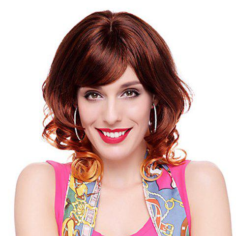 Mixed Color Capless Shaggy Wavy Fashion Medium Heat Resistant Fiber Women's Wig With Side Bang - COLORMIX
