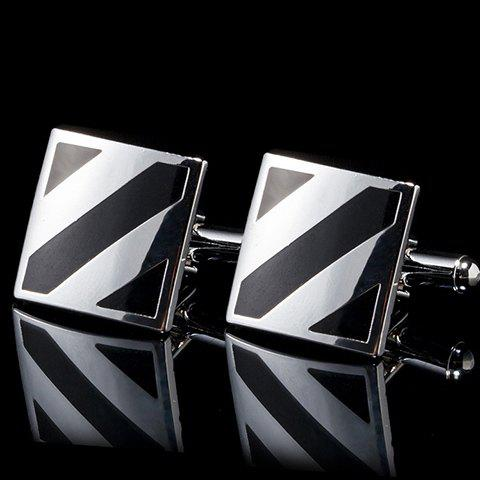 Pair of Fashionable Geometrical Pattern Metal Men's Cuff Links - SILVER/BLACK