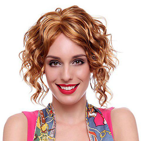 Fashion Centre Parting Blonde Mixed Brown Curly Short Fluffy Capless Synthetic Wig For Women - COLORMIX