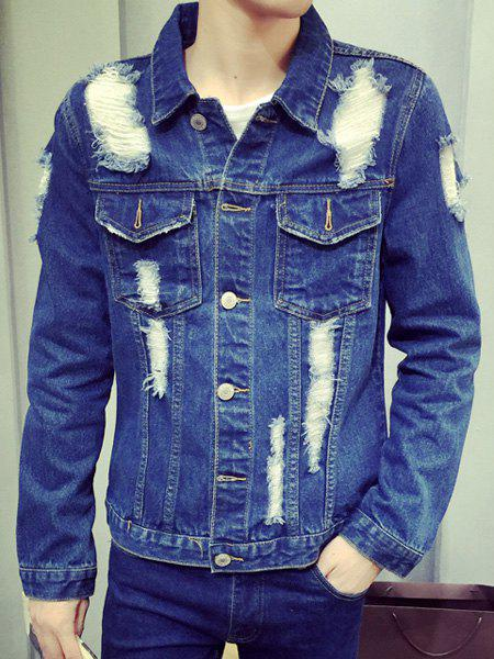 Holes and Cat's Whisker Turn-Down Collar Death Pattern Long Sleeve Men's Denim Jacket - BLUE L