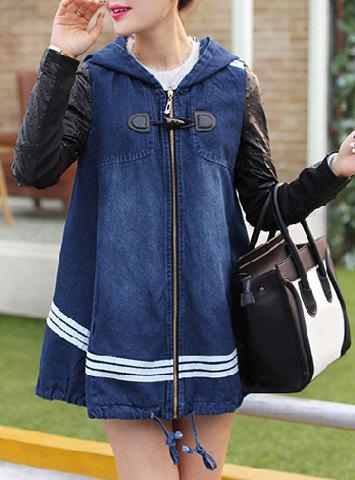 Casual Hooded Color Block Zippered Long Sleeve Denim Coat For Women - BLUE L