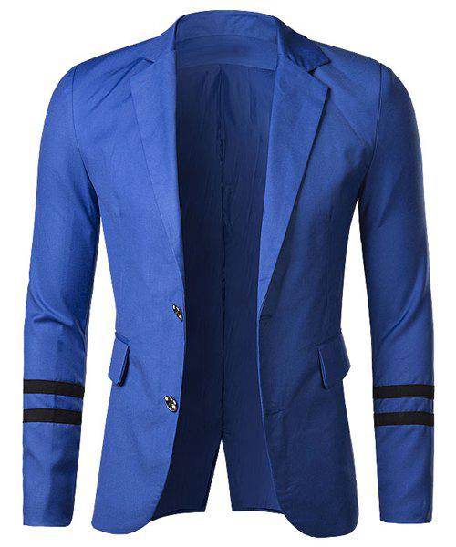 Slimming Lapel Fashion Color Block Stripe Ribbon Long Sleeve Cotton Blend Men's Blazer