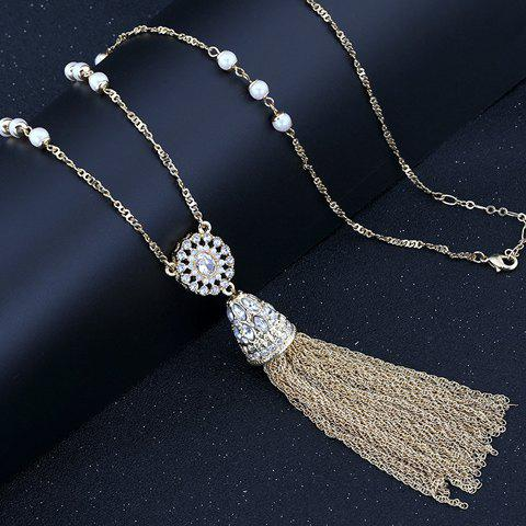 Chic Beads Link Tassel Sweater Chain Necklace For Women - GOLDEN