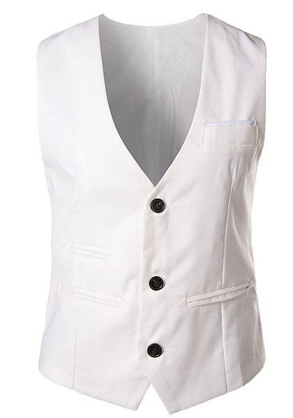 Slimming V-Neck Fashion Solid Color Single Breasted Sleeveless Cotton Blend Men's Waistcoat - WHITE L