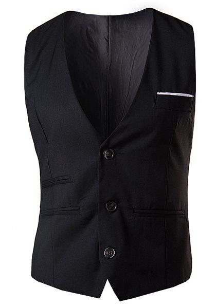 Slimming V-Neck Fashion Solid Color Single Breasted Sleeveless Cotton Blend Men's Waistcoat - BLACK M