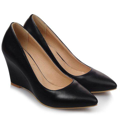 Simple Solid Color and PU Leather Design Wedge Shoes For Women - BLACK 38