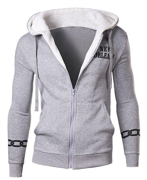 Slimming Modish Letter Print Large Pocket Long Sleeve Cotton Blend Thicken Men's Hoodie - LIGHT GRAY 2XL