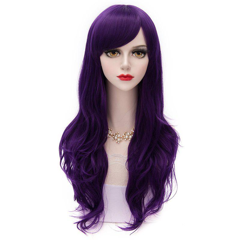 Heat Resistant Fiber Long Capless Vogue Inclined Bang Wave Harajuku Lolita Wig For Women - PURPLE STFP