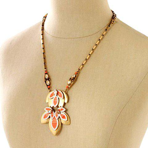 Chic Stylish Rhinestone Flower Sweater Chain Necklace For Women - GOLDEN