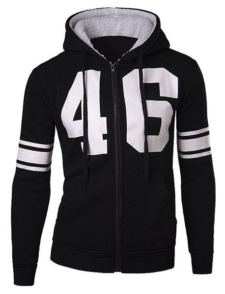 Slimming Stylish Number and Stripe Print Long Sleeve Cotton Blend Thicken Men's Hoodie - BLACK XL